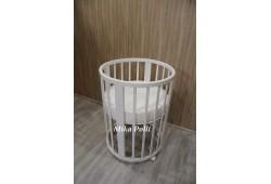 Круглая/овальная кроватка MIKA POLLI (65-65, 125-65) 8в1 береза белая