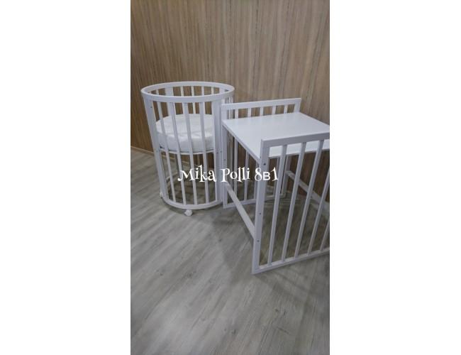 Круглая/овальная кроватка MIKA POLLI (65-65, 125-65) 8в1 береза ваниль