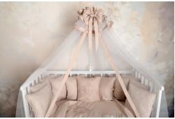 Балдахин в детскую кроватку сатин (жемчуг)