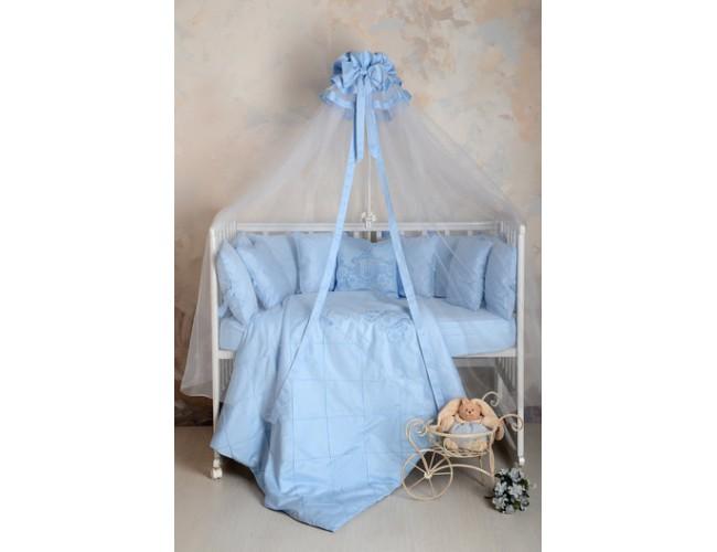 Балдахин в детскую кроватку сатин (голубой)