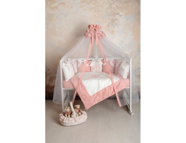 Балдахин в детскую кроватку сатин (пудра)