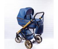 Детская коляска  Richmond GOLD 2 в 1 эко кожа (синий+золото)