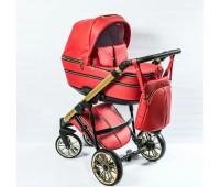Детская коляска  Richmond GOLD 2 в 1 эко кожа (красный+золото)