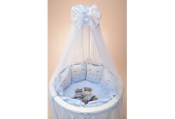 Комплект Котики с юбкой (голубой) для круглой и овальной кровати