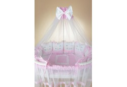Комплект Котики с юбкой (розовый) для круглой и овальной кровати