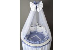 Комплект Котики с юбкой (синий) для круглой и овальной кровати