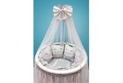 Комплект Котики с юбкой (серый) для круглой и овальной кровати