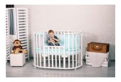 Круглая-овальная кроватка 7в1 INCANTO GIO белая (с подростковым диваном)