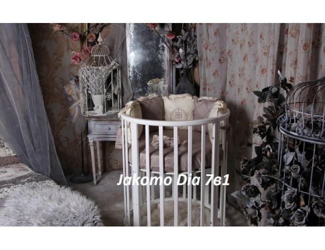 Круглая/овальная кроватка Jakomo DIA 7в1 БУК белая