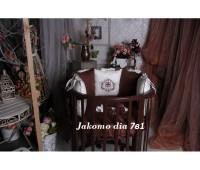 Круглая/овальная кроватка Jakomo DIA 7в1 БУК шоколад