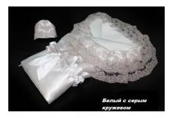 Конверт-одеяло атлас VERSENTO белый с серым кружевом