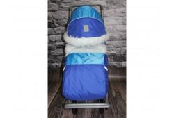 Санки-Коляска Снежинка 4 колеса синие