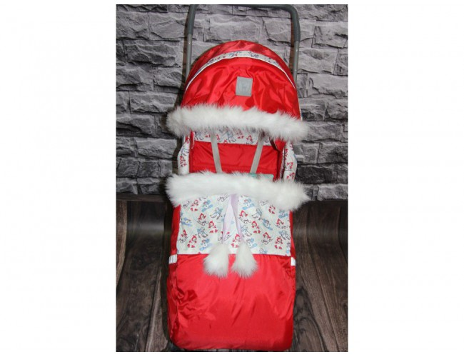 Санки-Коляска Снежинка 4 колеса красные