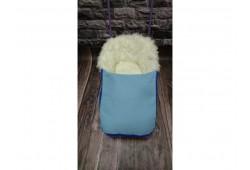 Универсани+меховой матрасик с муфтой для ног голубой