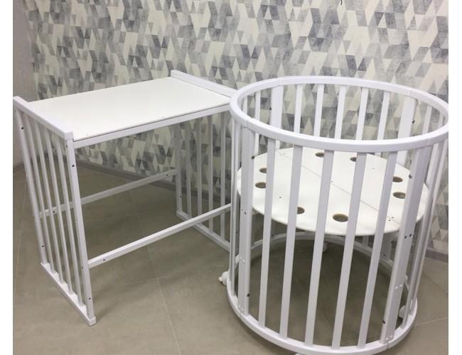 Кроватка детская Mini 7в1 белая (береза)