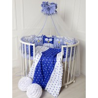 Комплект для круглой и овальной кровати Совята (синий)