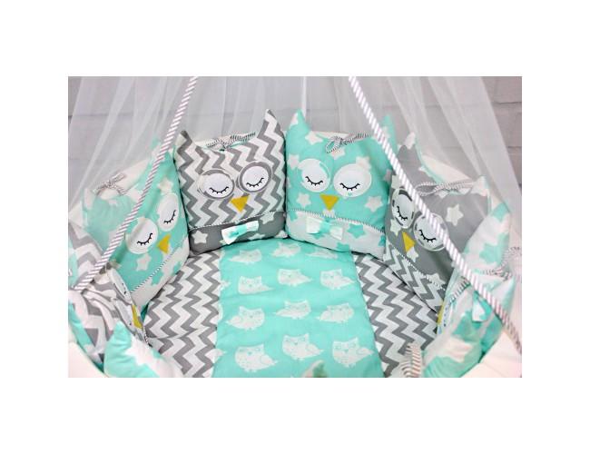 Комплект для круглой и овальной кровати Совята (серый-мята)